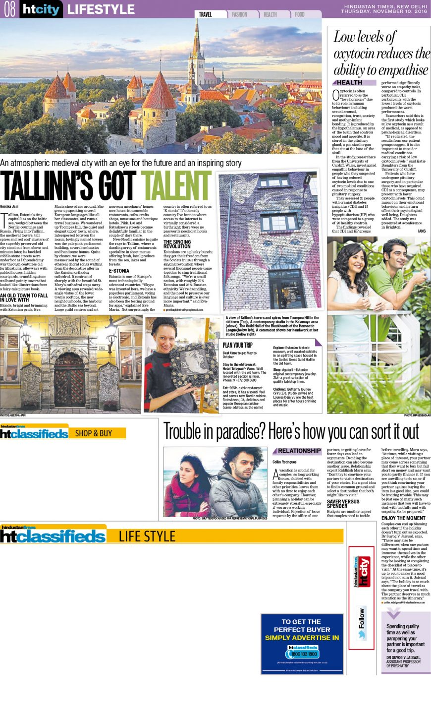 Estonian Experience tours in Hindustian Times